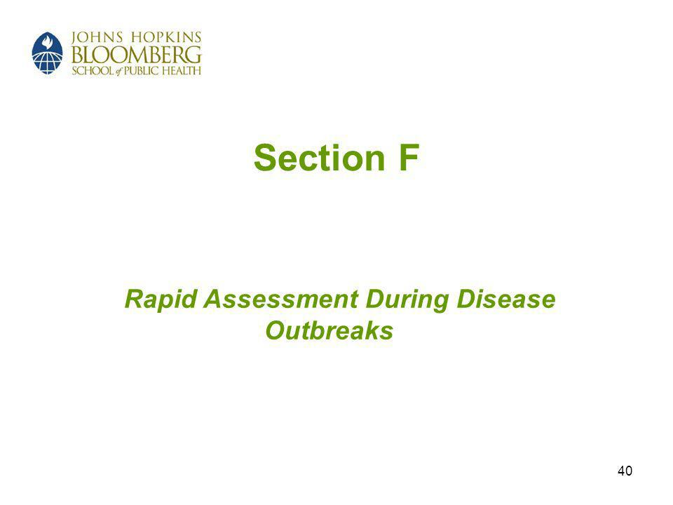 40 Section F Rapid Assessment During Disease Outbreaks