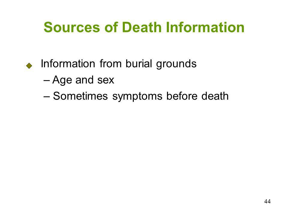 44 Sources of Death Information Information from burial grounds – Age and sex – Sometimes symptoms before death