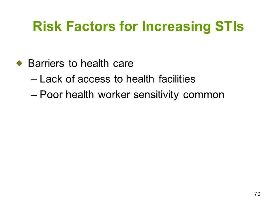 70 Risk Factors for Increasing STIs Barriers to health care – Lack of access to health facilities – Poor health worker sensitivity common