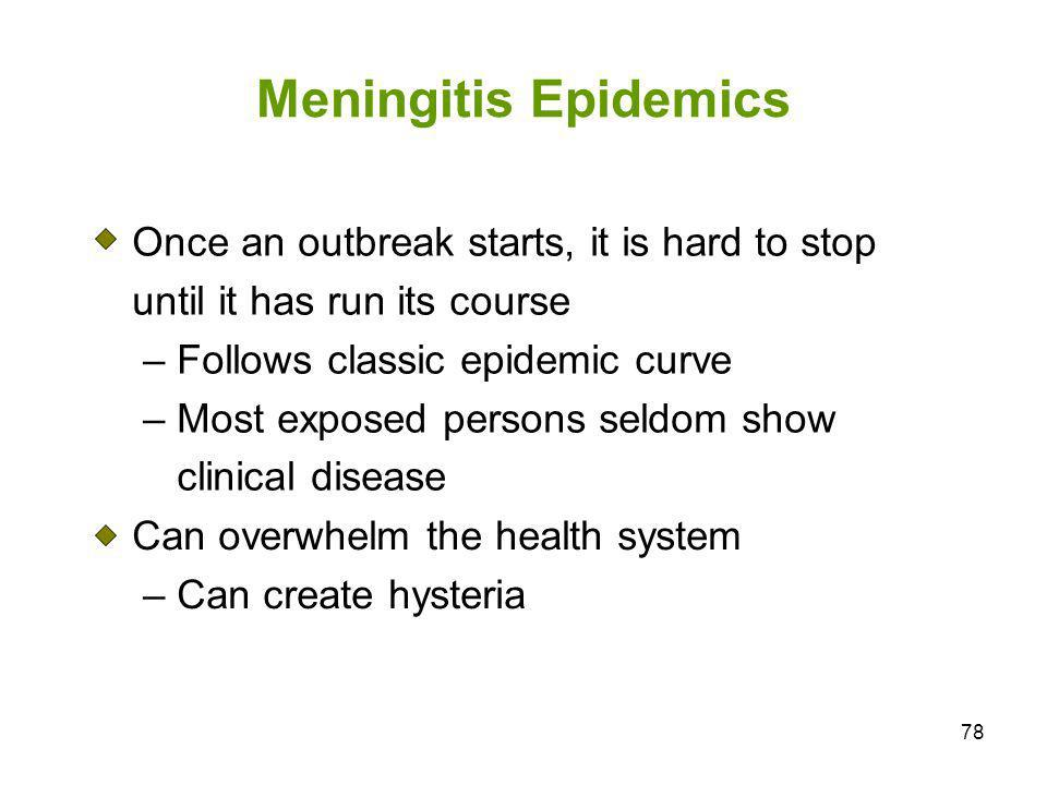 78 Meningitis Epidemics Once an outbreak starts, it is hard to stop until it has run its course – Follows classic epidemic curve – Most exposed person