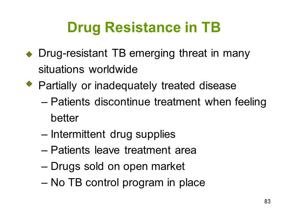 83 Drug Resistance in TB Drug-resistant TB emerging threat in many situations worldwide Partially or inadequately treated disease – Patients discontin