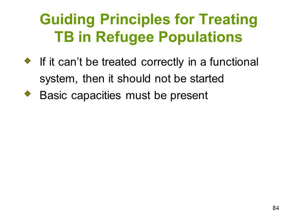 84 Guiding Principles for Treating TB in Refugee Populations If it cant be treated correctly in a functional system, then it should not be started Bas