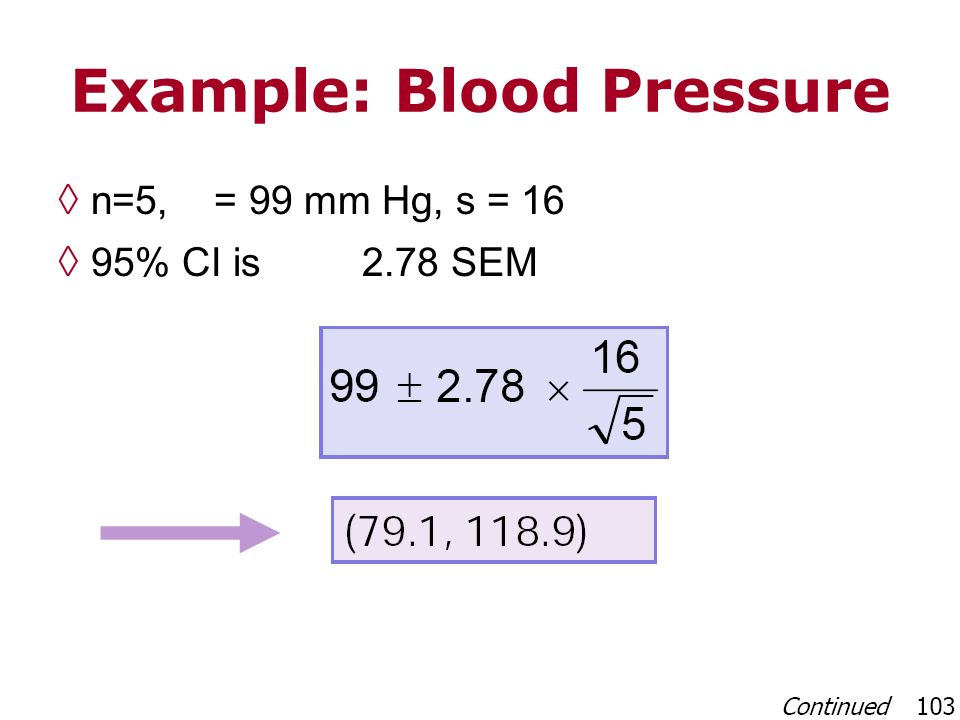 Example: Blood Pressure n=5, = 99 mm Hg, s = 16 95% CI is 2.78 SEM
