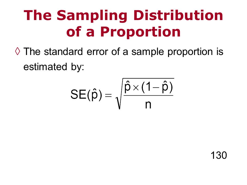 The standard error of a sample proportion is estimated by: 130