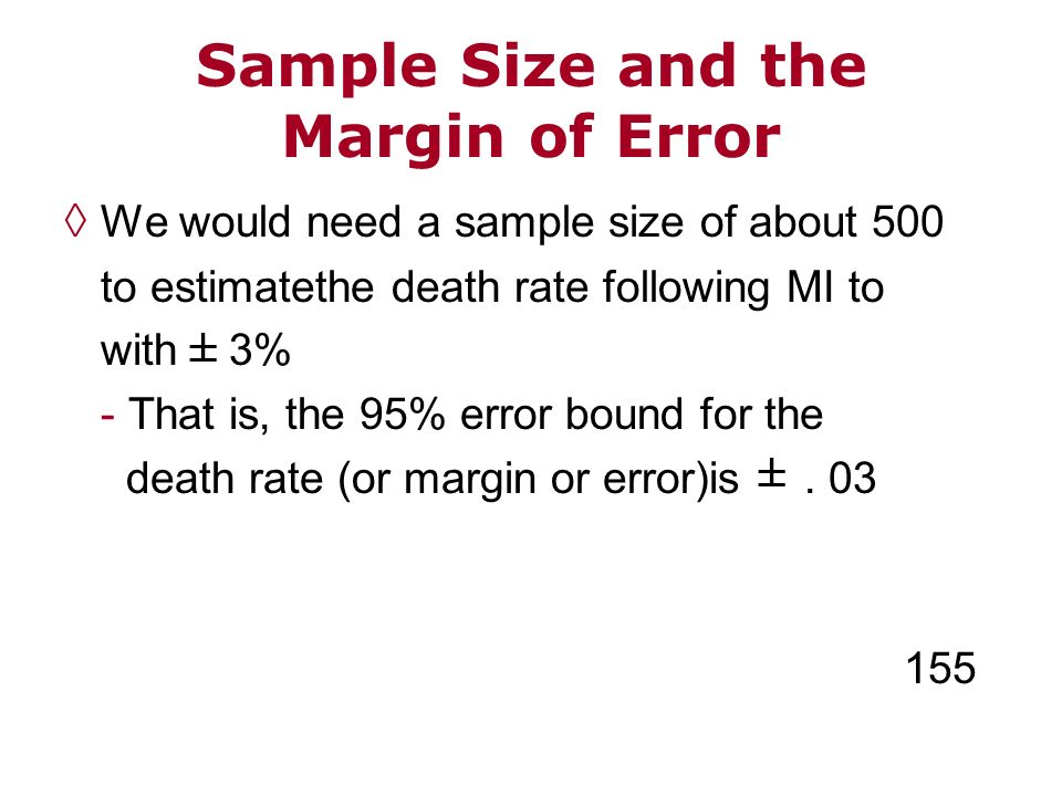 We would need a sample size of about 500 to estimatethe death rate following MI to with 3% - That is, the 95% error bound for the death rate (or margi