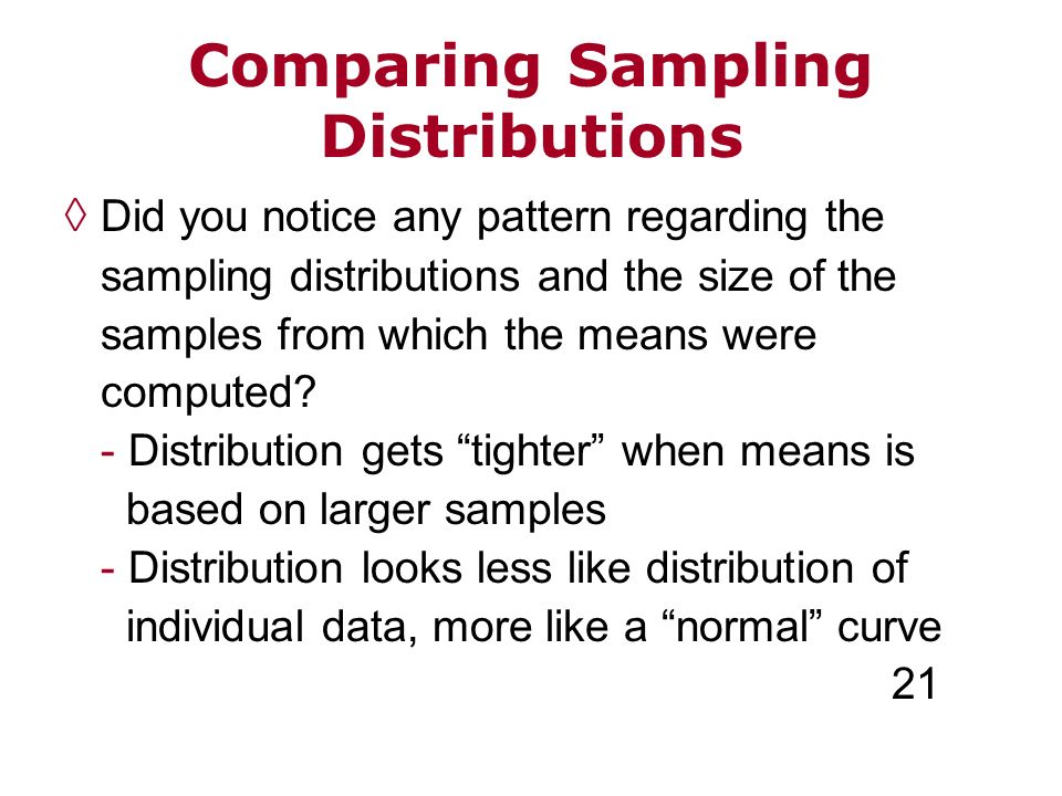 Comparing Sampling Distributions Did you notice any pattern regarding the sampling distributions and the size of the samples from which the means were