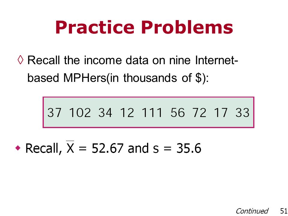 Practice Problems Recall the income data on nine Internet- based MPHers(in thousands of $):