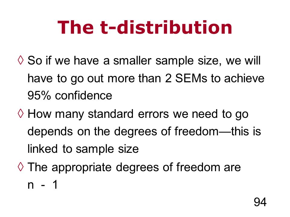 The t-distribution So if we have a smaller sample size, we will have to go out more than 2 SEMs to achieve 95% confidence How many standard errors we