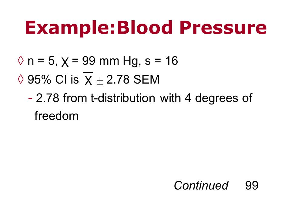 Example:Blood Pressure n = 5, = 99 mm Hg, s = 16 95% CI is 2.78 SEM - 2.78 from t-distribution with 4 degrees of freedom Continued 99
