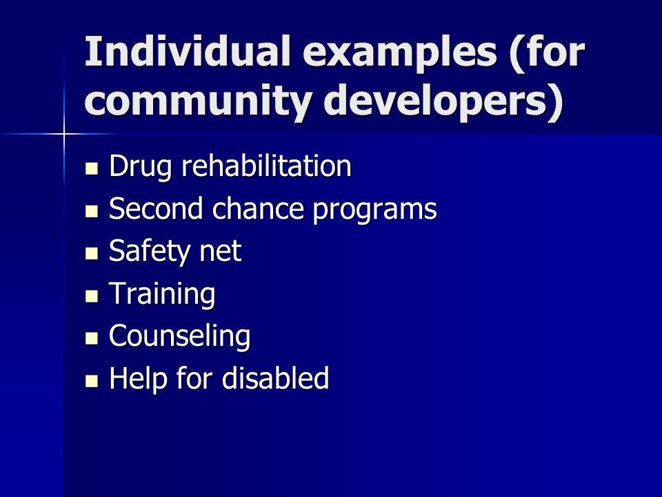 Individual examples (for community developers) Drug rehabilitation Drug rehabilitation Second chance programs Second chance programs Safety net Safety