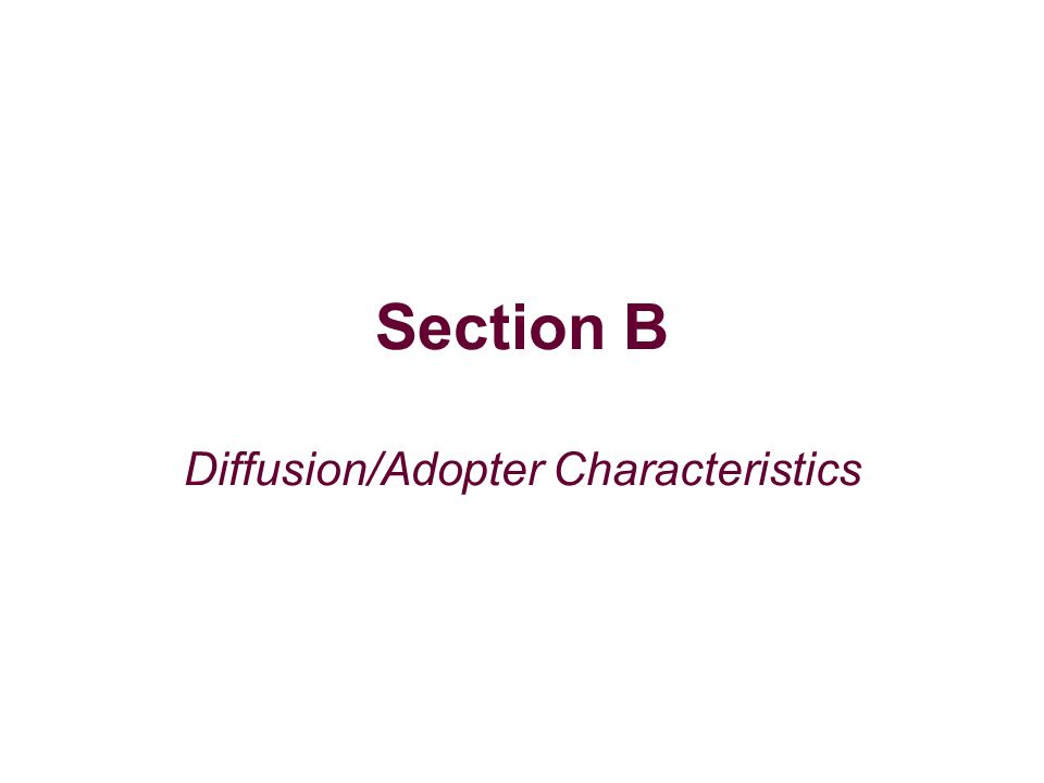Section B Diffusion/Adopter Characteristics