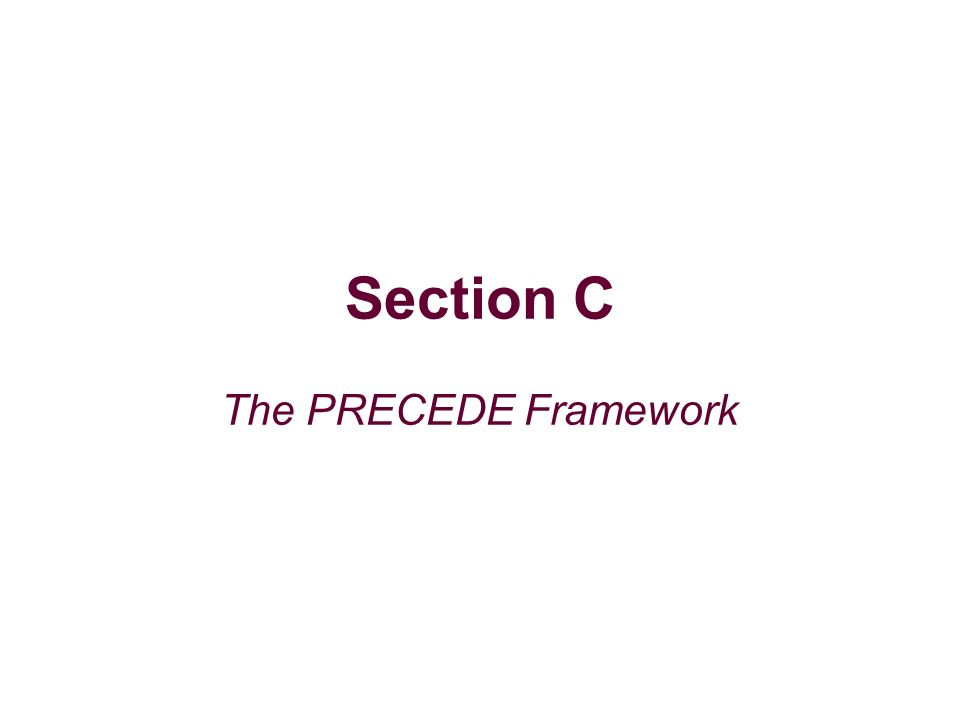 Section C The PRECEDE Framework