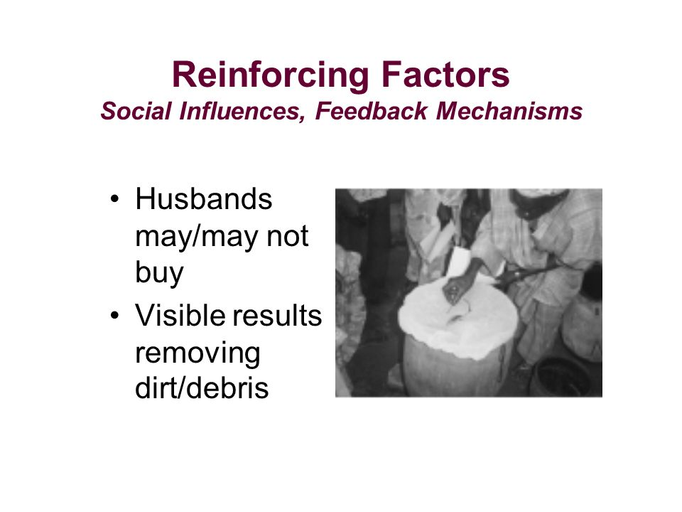 Husbands may/may not buy Visible results removing dirt/debris Reinforcing Factors Social Influences, Feedback Mechanisms