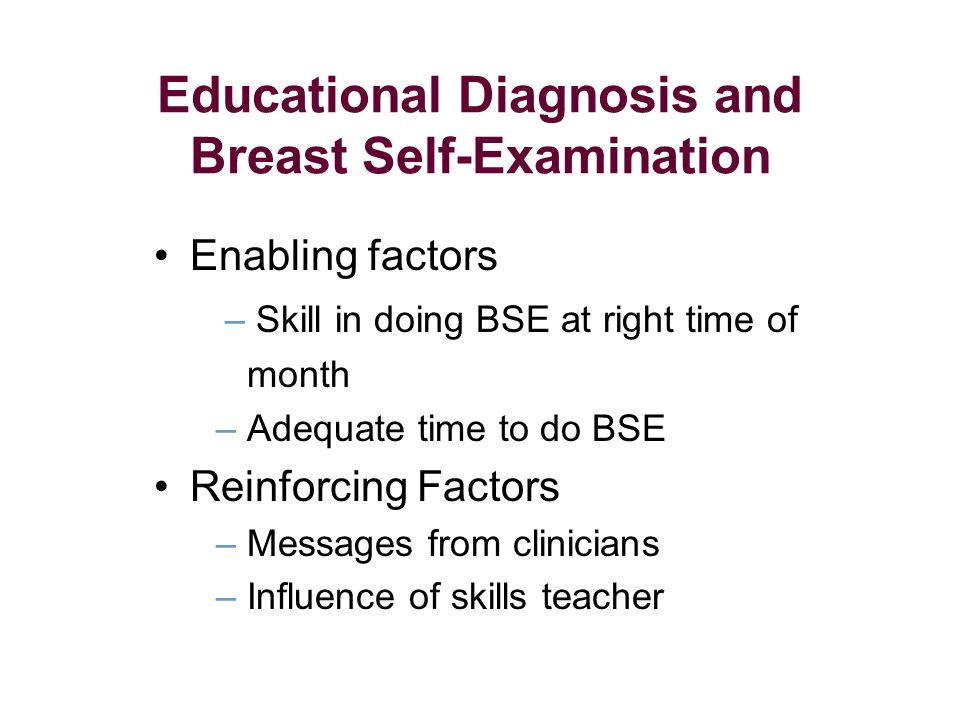 Enabling factors – Skill in doing BSE at right time of month – Adequate time to do BSE Reinforcing Factors – Messages from clinicians – Influence of skills teacher Educational Diagnosis and Breast Self-Examination