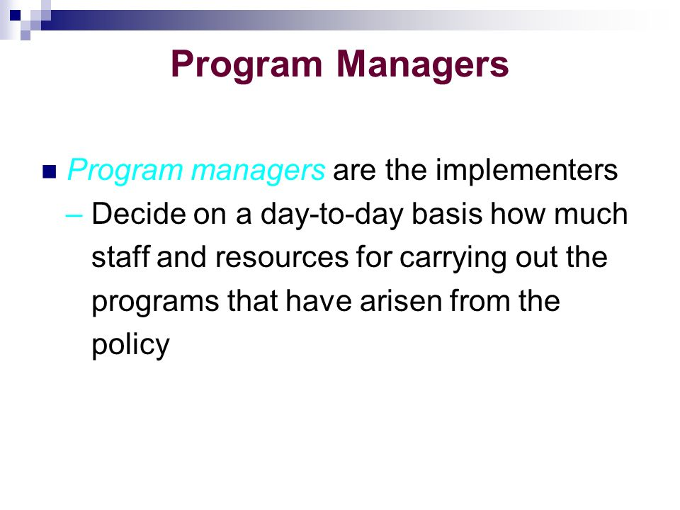 Program Managers Program managers are the implementers – Decide on a day-to-day basis how much staff and resources for carrying out the programs that have arisen from the policy