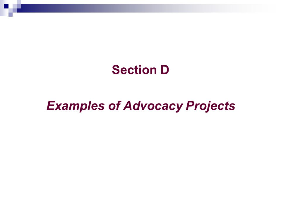 Section D Examples of Advocacy Projects