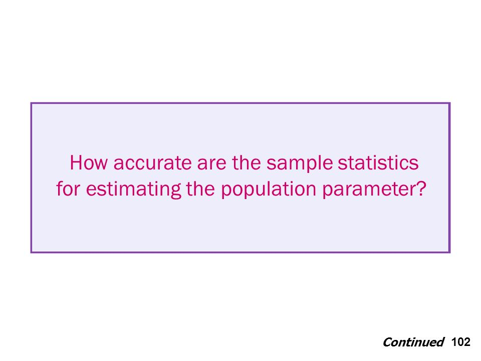102 How accurate are the sample statistics for estimating the population parameter Continued
