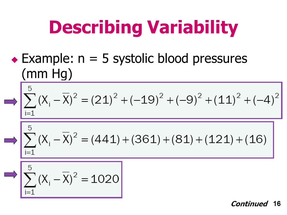 16 Describing Variability Example: n = 5 systolic blood pressures (mm Hg) Continued