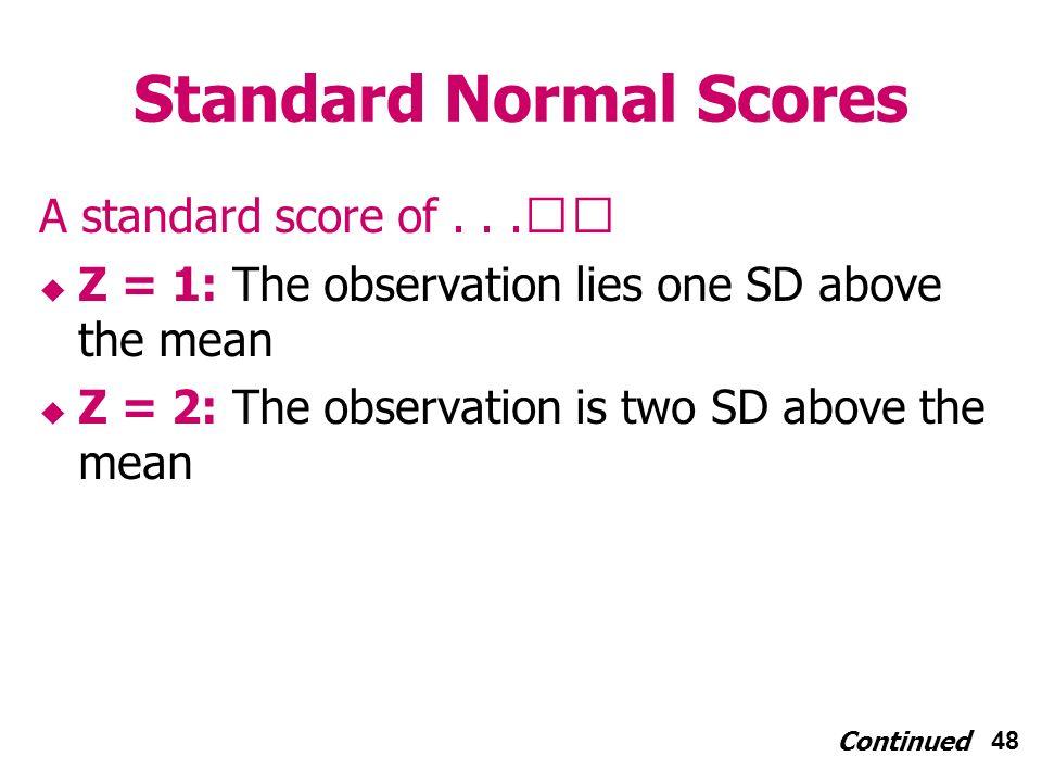 48 Standard Normal Scores A standard score of...