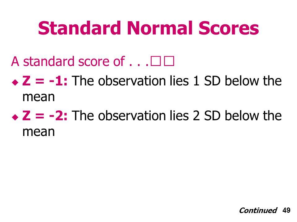 49 Standard Normal Scores A standard score of...