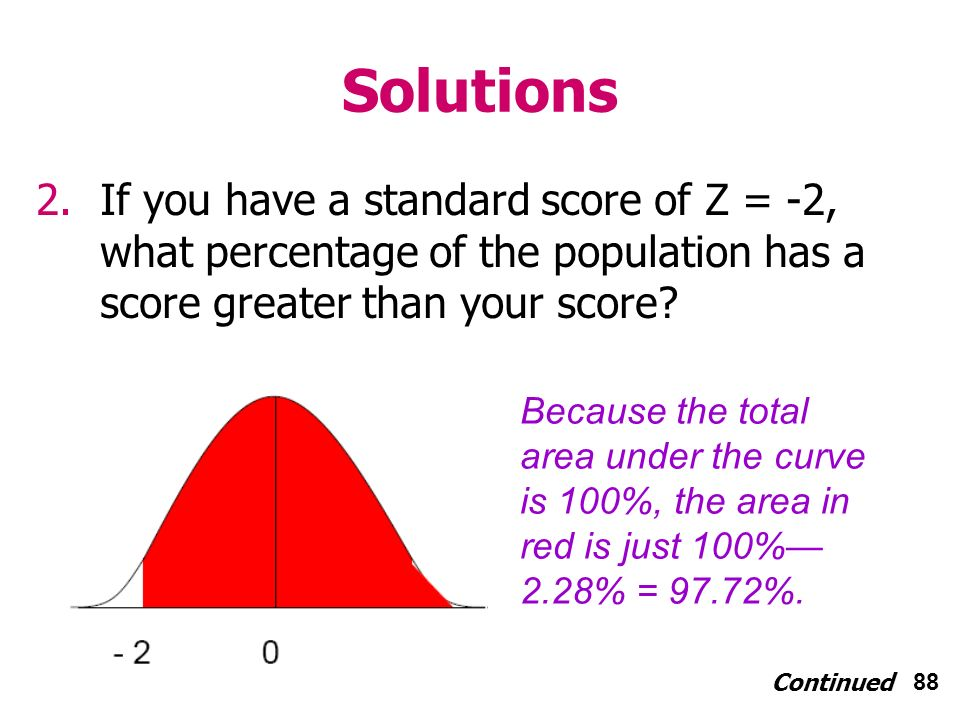 88 Solutions 2.If you have a standard score of Z = -2, what percentage of the population has a score greater than your score.