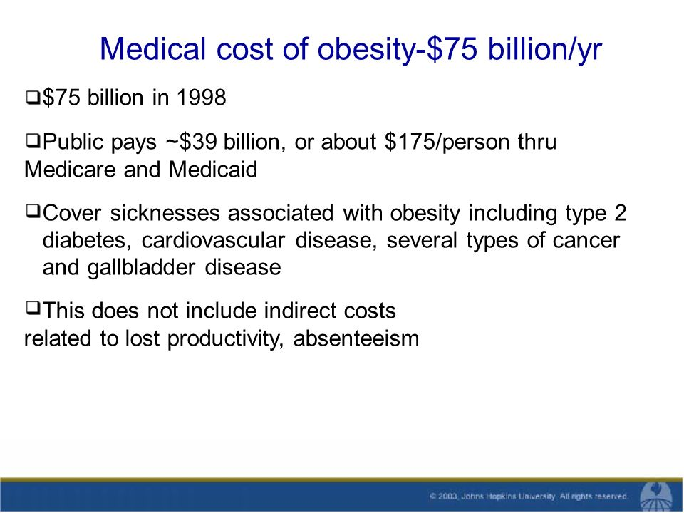 Medical cost of obesity-$75 billion/yr $75 billion in 1998 Public pays ~$39 billion, or about $175/person thru Medicare and Medicaid Cover sicknesses associated with obesity including type 2 diabetes, cardiovascular disease, several types of cancer and gallbladder disease This does not include indirect costs related to lost productivity, absenteeism