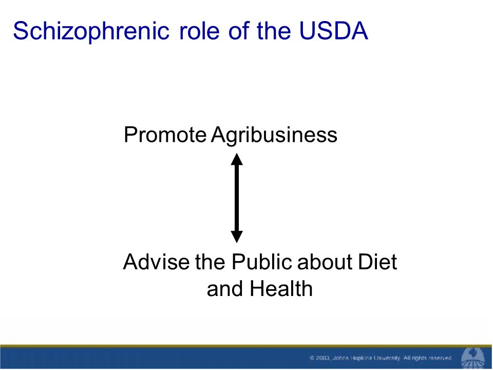 Schizophrenic role of the USDA Promote Agribusiness Advise the Public about Diet and Health