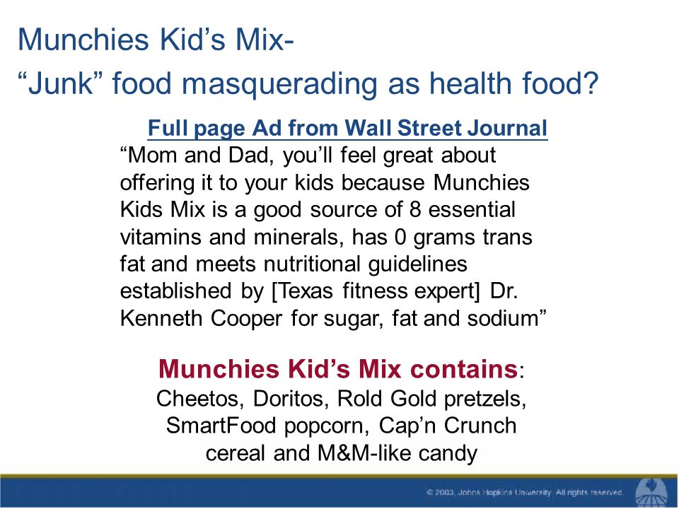 Munchies Kids Mix- Junk food masquerading as health food.