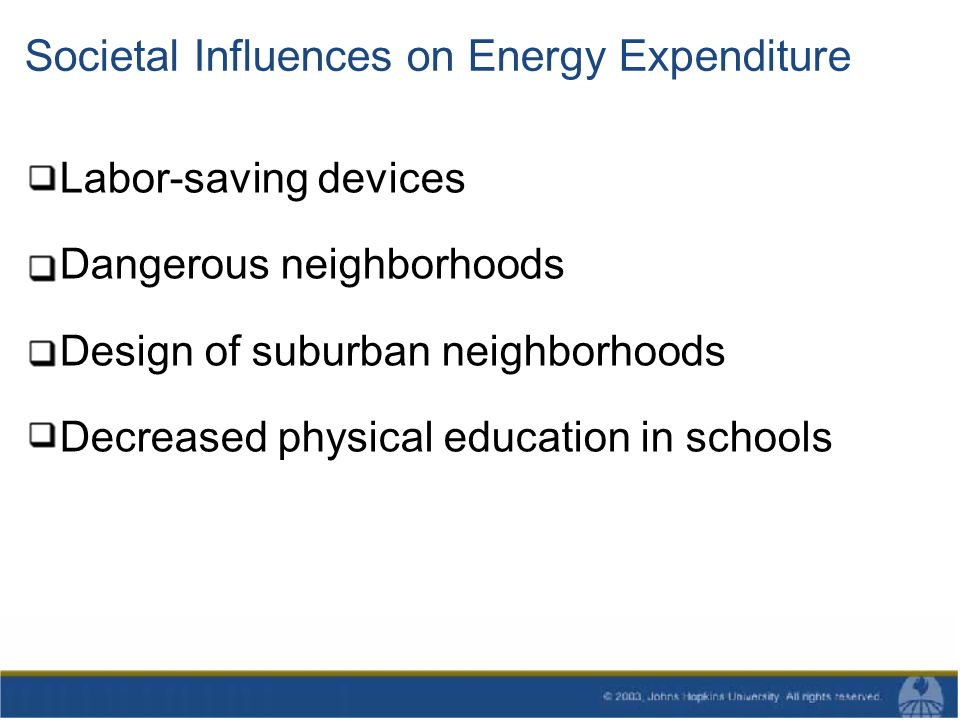 Societal Influences on Energy Expenditure Labor-saving devices Dangerous neighborhoods Design of suburban neighborhoods Decreased physical education in schools