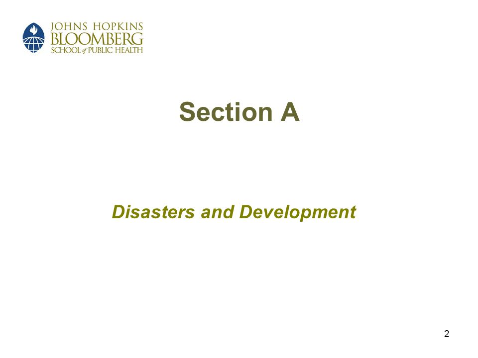 2 Section A Disasters and Development
