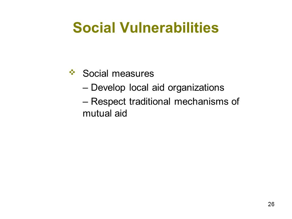 26 Social Vulnerabilities Social measures – Develop local aid organizations – Respect traditional mechanisms of mutual aid