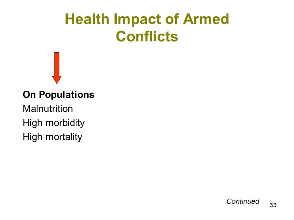 33 Health Impact of Armed Conflicts On Populations Malnutrition High morbidity High mortality Continued