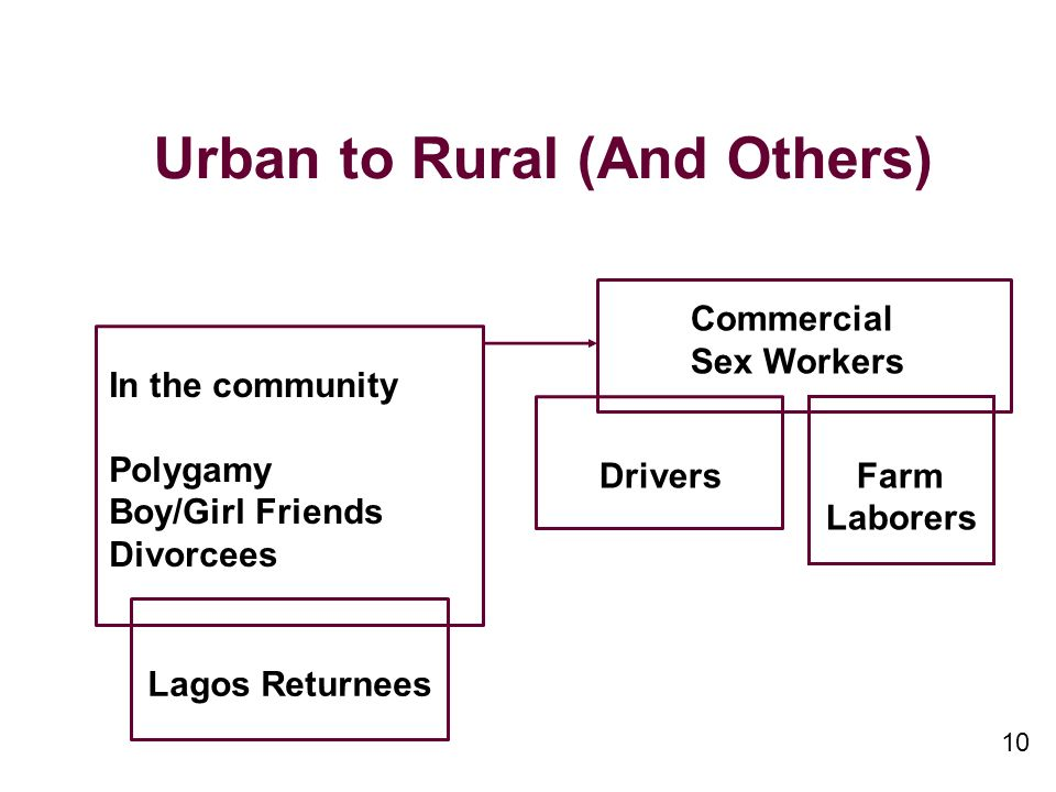 10 Urban to Rural (And Others) In the community Polygamy Boy/Girl Friends Divorcees Commercial Sex Workers Drivers Farm Laborers Lagos Returnees