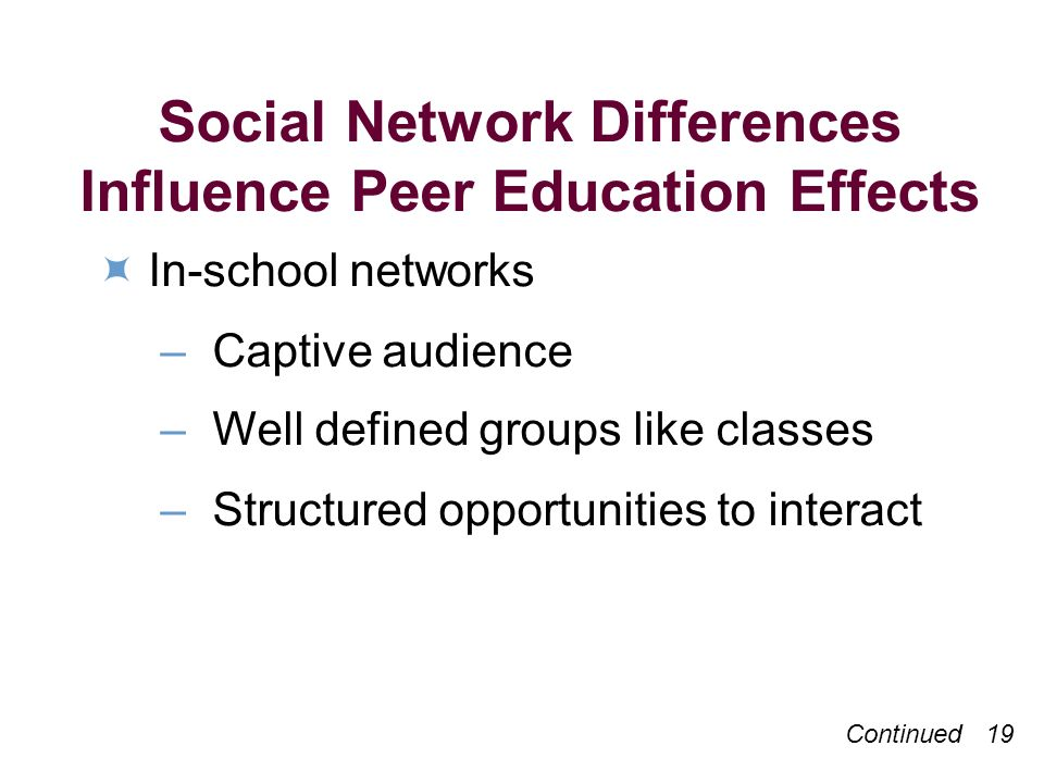 Social Network Differences Influence Peer Education Effects In-school networks – Captive audience – Well defined groups like classes – Structured opportunities to interact Continued 19