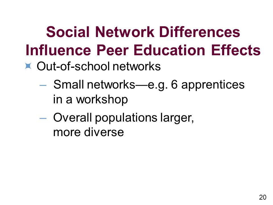 20 Social Network Differences Influence Peer Education Effects Out-of-school networks – Small networkse.g.