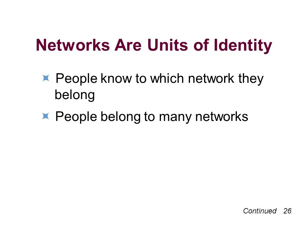 Continued 26 Networks Are Units of Identity People know to which network they belong People belong to many networks