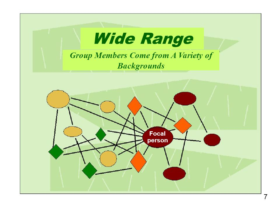 7 Wide Range Group Members Come from A Variety of Backgrounds Focal person