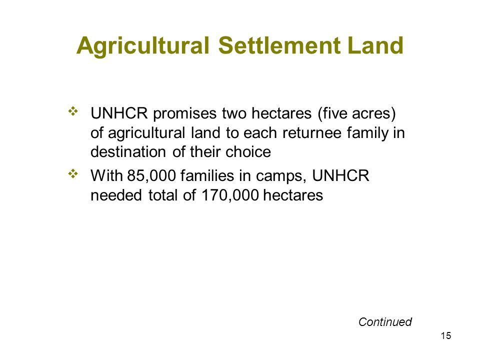 15 Agricultural Settlement Land UNHCR promises two hectares (five acres) of agricultural land to each returnee family in destination of their choice With 85,000 families in camps, UNHCR needed total of 170,000 hectares Continued