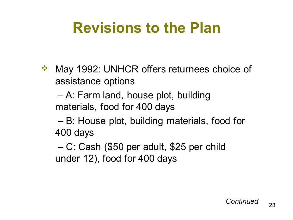 28 Revisions to the Plan May 1992: UNHCR offers returnees choice of assistance options – A: Farm land, house plot, building materials, food for 400 da