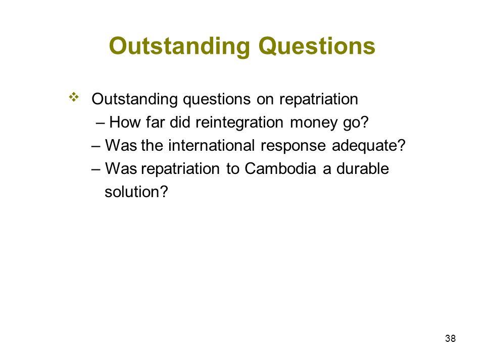 38 Outstanding Questions Outstanding questions on repatriation – How far did reintegration money go? – Was the international response adequate? – Was