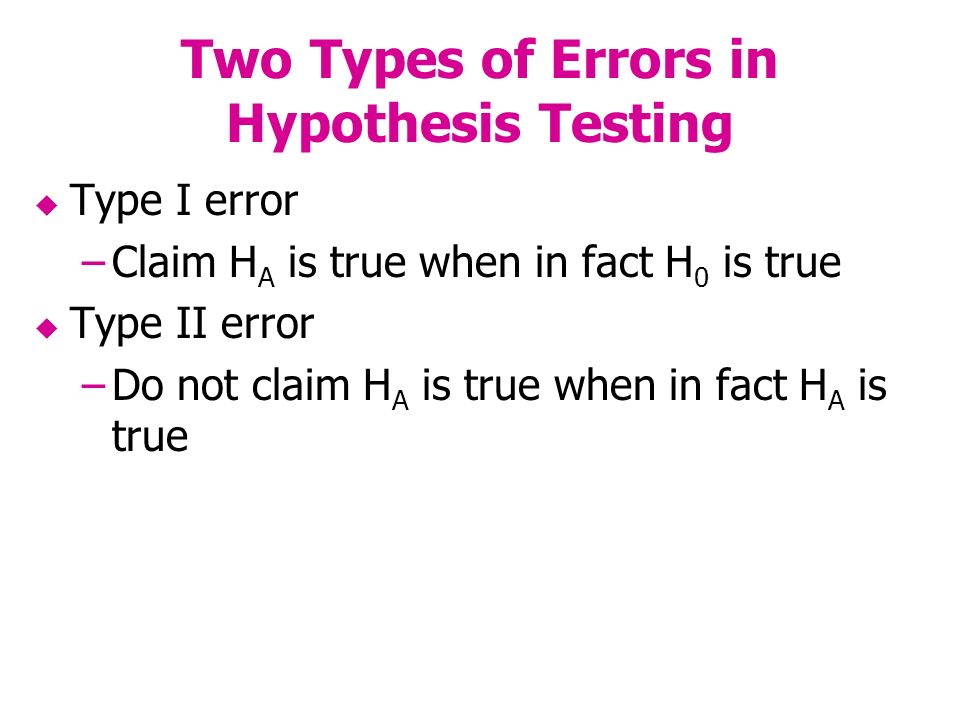 Two Types of Errors in Hypothesis Testing Type I error –Claim H A is true when in fact H 0 is true Type II error –Do not claim H A is true when in fact H A is true