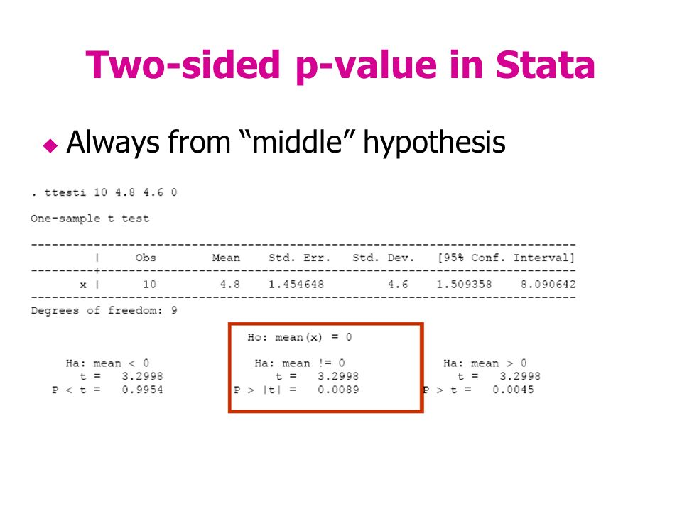 Two-sided p-value in Stata Always from middle hypothesis