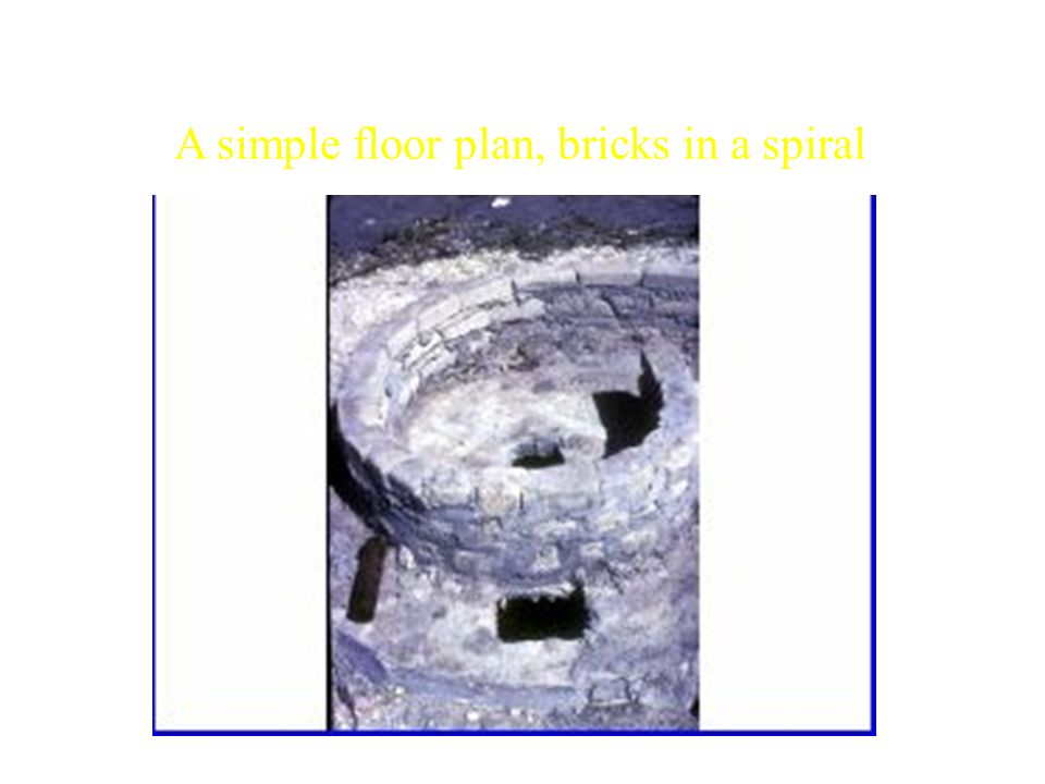 A simple floor plan, bricks in a spiral