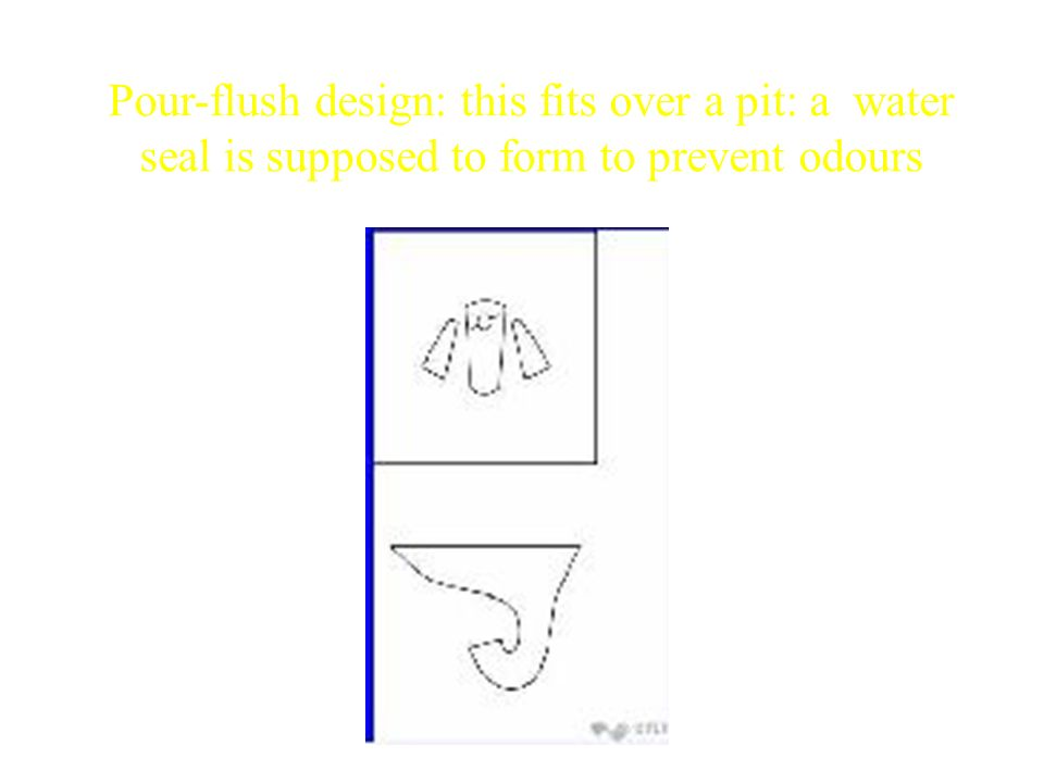Pour-flush design: this fits over a pit: a water seal is supposed to form to prevent odours