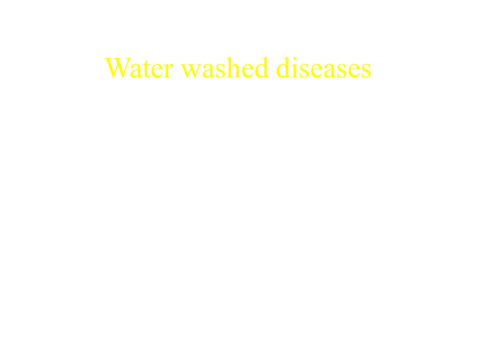 Water washed diseases Diseases/infections acquired because of insufficient water available. Contaminated clothing: scabies, lice, louse borne diseases