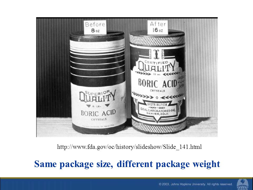 http://www.fda.gov/oc/history/slideshow/Slide_141.html Same package size, different package weight