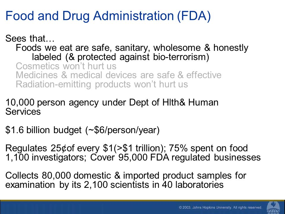 Food and Drug Administration (FDA) Sees that… Foods we eat are safe, sanitary, wholesome & honestly labeled (& protected against bio-terrorism) Cosmet