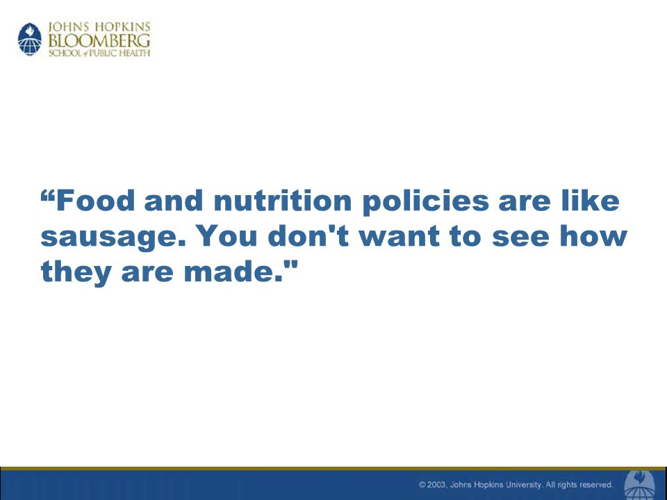 Process for Development of Dietary Guidelines & Food Pyramid Dietary Guidelines (DGs) for Americans: 5 year review mandated by Congress Review performed by panel of experts Changes must be evidence-based Final report issued by Sectysof HHS & USDA Food Pyramid Educational tool developed by USDA Must be consistent with DGs Goal is to translate nutrient recommendations into kinds & amounts of food to eat daily