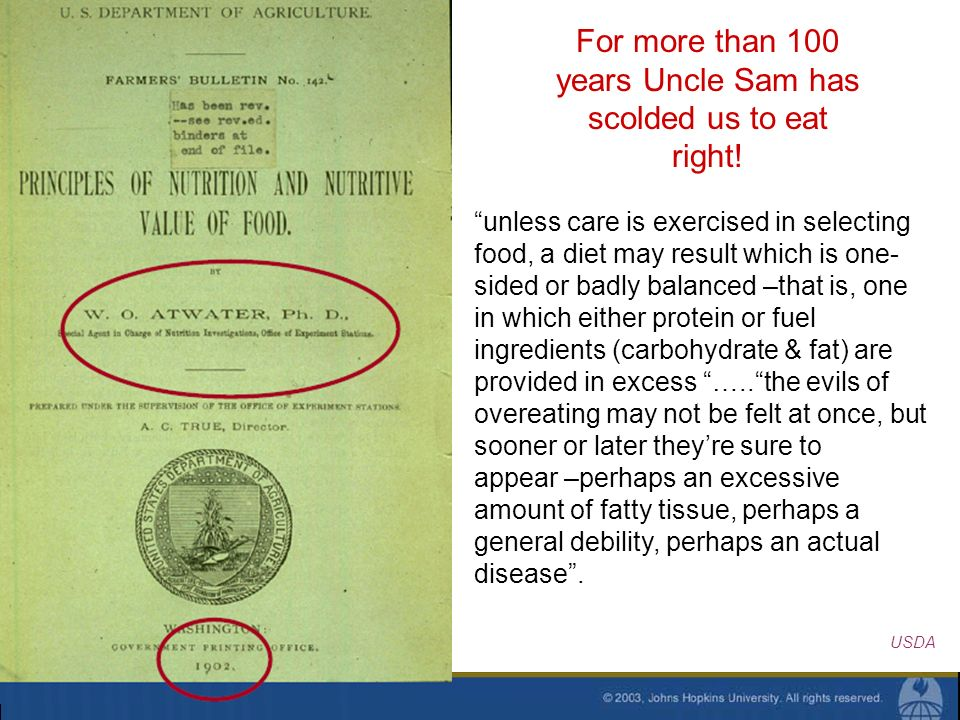 For more than 100 years Uncle Sam has scolded us to eat right! unless care is exercised in selecting food, a diet may result which is one- sided or ba