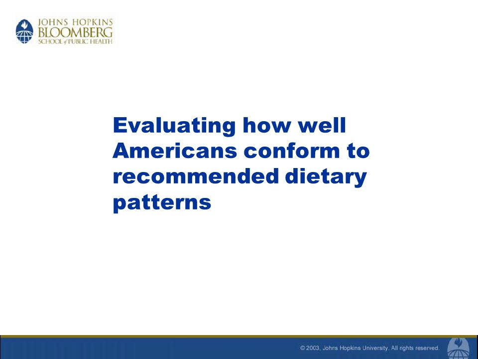 Evaluating how well Americans conform to recommended dietary patterns
